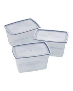 Plastbokser sett av 3 bokser med lokk for frys og micro 1,2 liter