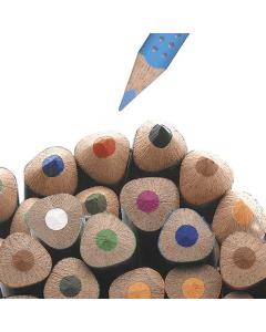 """Grip Jumbo kit, Faber-Castell - vannoppløselig fargeblyant. Gripevennlig, trekantet, ergonomisk fargeblyant med """"soft grip"""" skaft. Det unike ABS-systemet (Anti-Break-System) forlenger blyantens varighet. Lengde 17,5 cm, Ø 10 mm. Pakke med 12 farger og 1 b"""