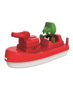 Aquaplay Krokodille med brannbåt    her kommer brannmann Krokodille med sin brannbåt. Klar for å hjelpe alle som er i nød. Passer all AquaPlay produkter og kanalsystemet eller alene i badekaret om man vil.  Fra 3 år.