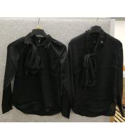 Bluse PM norsk designet sort bluse med sløyfe